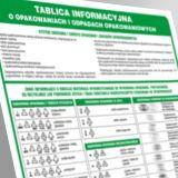 Tablica informacyjna o opakowaniach i odpadach opakowaniowych - segregacja śmieci - PA090 - Segregacja śmieci: kolory, zasady sortowania i oznaczenia na koszach