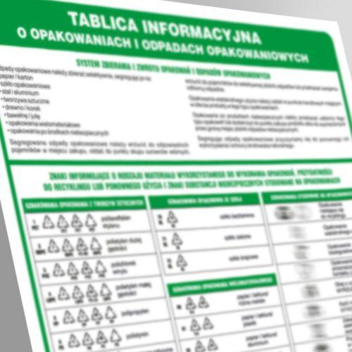 Tablica informacyjna o opakowaniach i odpadach opakowaniowych - segregacja śmieci - PA090 - Segregacja odpadów w świetle nowych przepisów