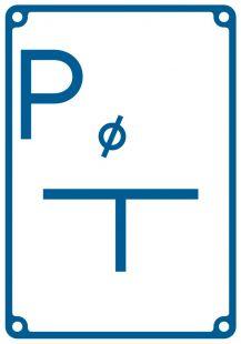 Tablica orientacyjna punktu pomiarowego - znak bezpieczeństwa, informujący, wodociągi - JB009