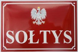 Tablica tabliczka szyld - Sołtys, z orzełkiem - blacha emaliowana