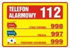 Tabliczka telefonów alarmowych - znak, naklejka - DA003