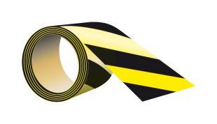 Taśma ostrzegawcza, odblaskowa, żółto - czarna, samoprzylepna 5cm x 5m