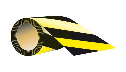 Taśma samoprzylepna 7,5cm x 58m - czarno-żółta - Norma PN-N-01256-5:1998 dla dróg ewakuacyjnych i przeciwpożarowych – zasady montażu