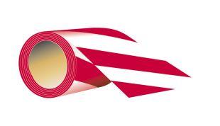 Taśma samoprzylepna dł 7,5 cm x 58 mb - czerwono biała