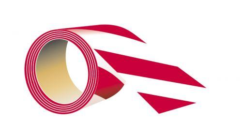 Taśma samoprzylepna na podłogę 5cm x 33m - biało-czerwona - Trasy ruchu, przeszkody i niebezpieczne miejsca – znaki