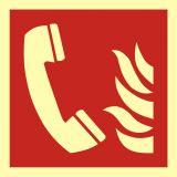 Telefon alarmowania pożarowego - znak przeciwpożarowy ppoż - BAF006 - Znaki ochrony przeciwpożarowej PN-EN ISO 7010