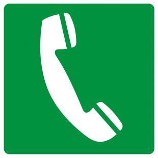 Telefon awaryjny - znak bhp informujący - GG006
