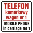 Telefon komórkowy w wagonie nr 1. Mobile phone in carriage no 1 - znak, naklejka kolejowa - SD017