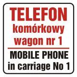 Telefon komórkowy w wagonie nr 1. Mobile phone in carriage no 1 - znak, naklejka kolejowa - SD017 - Znaki do pociągów – oznakowanie stosowane w wagonach pasażerskich