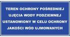 Teren ochrony pośredniej ujęcia wody podziemnej ustanowiony w celu ochrony jakości wód ujmowanych - znak bezpieczeństwa, informujący, ujęcie wody - JE004