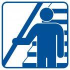 Trzymaj się poręczy schodząc i wchodząc po schodach - znak informacyjny - RA119