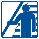 Trzymaj się poręczy schodząc i wchodząc po schodach - znak informacyjny - RA119 - Przepisy dotyczące pomieszczeń pracy