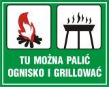 Tu można palić ognisko i grillować - znak, lasy - OB040 - Oznakowanie w lesie