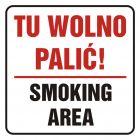 Tu wolno palić! Smoking area - znak, naklejka kolejowa - SD019