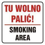Tu wolno palić! Smoking area - znak, naklejka kolejowa - SD019 - Palenie tytoniu – gdzie obowiązuje zakaz, a gdzie wolno palić?