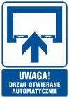 Uwaga! Drzwi otwierane automatycznie - znak informacyjny - RB013