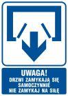 Uwaga! Drzwi zamykają się samoczynnie. Nie zamykaj na siłę (drzwi dwuskrzydłowe) - znak informacyjny - RB011