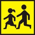Uwaga! Dzieci - znak PCV, naklejka - SA013