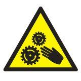 Uwaga ! Elementy ruchome - znak bhp ostrzegający, informujący - GE015 - Zagrożenia mechaniczne w środowisku pracy bez tajemnic