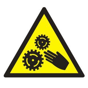 Uwaga ! Elementy ruchome - znak bhp ostrzegający, informujący - GE015