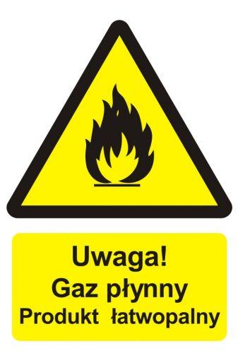Uwaga! Gaz płynny - produkt łatwopalny - znak przeciwpożarowy ppoż - BC002 - Znaki uzupełniające ochrony przeciwpożarowej