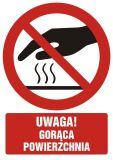 Uwaga! Gorąca powierzchnia - znak bhp ostrzegający, informujący - GC044 - Znaki BHP w miejscu pracy (norma PN-93/N-01256/03)