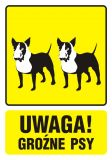 Uwaga! Groźne psy 1 - znak informacyjny - PA035 - Nieupoważnionym wstęp wzbroniony: co oznaczają znaki, tabliczki i gdzie je kupić?