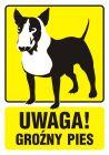 Uwaga! Groźny pies 1 - znak informacyjny - PA036