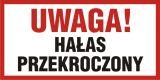 Uwaga! Hałas przekroczony - znak informacyjny - PB106 - Zasady stosowania znaków bezpieczeństwa