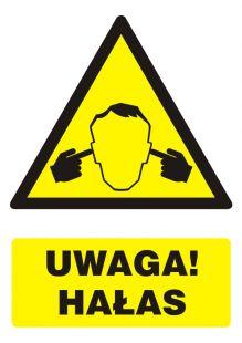 Uwaga ! Hałas - znak bhp ostrzegający, informujący - GF046