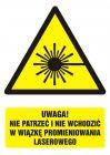 Uwaga! nie patrzeć i nie wchodzić w wiązkę promieniowania laserowego - znak bhp ostrzegający, informujący - GF016