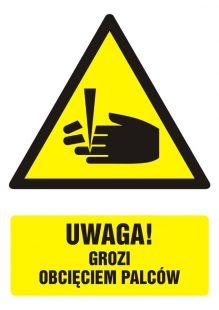 Uwaga - niebezpieczeństwo obcięcia palców - znak bhp ostrzegający, informujący - GF036