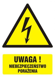 Uwaga! niebezpieczeństwo porażenia - znak bhp ostrzegający, informujący - GF015