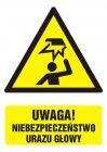 Uwaga! niebezpieczeństwo urazu głowy - znak bhp ostrzegający, informujący - GF019