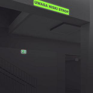 Uwaga niski strop - znak ewakuacyjny - AC208