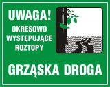 Uwaga! Okresowo występujące roztopy - znak, lasy - OB035 - Znaki drogowe na drodze leśnej