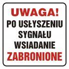 Uwaga! Po usłyszeniu sygnału wsiadanie zabronione - znak, naklejka kolejowa - SD013
