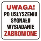 Uwaga! Po usłyszeniu sygnału wysiadanie zabronione - znak, naklejka kolejowa - SD014