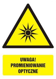 Uwaga! Promieniowanie optyczne - znak bhp ostrzegający, informujący - GF063