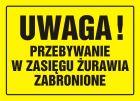 Uwaga! Przebywanie w zasięgu żurawia zabronione - znak, tablica budowlana - OA019