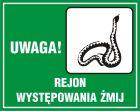 Uwaga! Rejon występowania żmij - znak, lasy - OB033