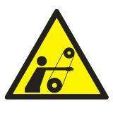 Uwaga ! Ruchome elementy - znak bhp ostrzegający, informujący - GE017 - Znaki BHP w miejscu pracy (norma PN-93/N-01256/03)