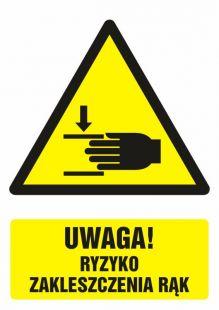 Uwaga ! Ryzyko zakleszczenia rąk - znak bhp ostrzegający, informujący - GF042