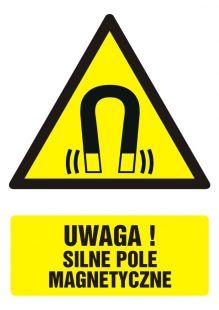Uwaga! silne pole magnetyczne - znak bhp ostrzegający, informujący - GF024