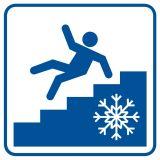 Uwaga! Śliskie schody - znak informacyjny - RA108 - Wymagania dla pomieszczeń pracy
