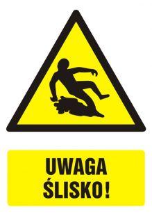 Uwaga ślisko! - znak bhp ostrzegający, informujący - GF022