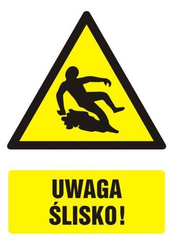 Uwaga ślisko! - znak bhp ostrzegający, informujący - GF022 - Wymagania dla pomieszczeń pracy