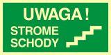 Uwaga strome schody - znak ewakuacyjny - AC027 - Przepisy dotyczące pomieszczeń pracy