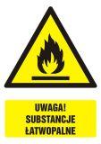 Uwaga! Substancje łatwopalne - znak bhp ostrzegający, informujący - GF061 - Substancje piroforyczne ciekłe i stałe
