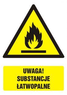 Uwaga! Substancje łatwopalne - znak bhp ostrzegający, informujący - GF061